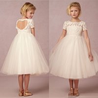 Wholesale Cute Junior Wedding Dresses - New Lovely 2015 Cute Junior Flower Girls Dresses For Weddings Children Little Girl Pageant Dress Lace Tea Length Tulle Kids Long Gowns 2016