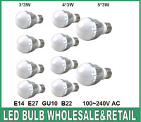 Wholesale cree e27 dimmable ball online - Retail Dimmable led Bubble Ball Bulb AC85 V W W W E14 E27 B22 GU10 High power Globe light LED Light