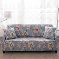 Wholesale Folding Couches - Blue Flower All-inclusive Sofa Cover Tight Wrap Elastic Sofa Towel Slipcover Cover Couch Without Armrest Folding Sofa Cover