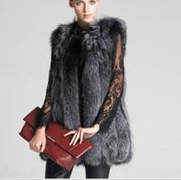 Wholesale Charm Fur Vest - Manteau bomber New Plus Size XXXL Faux Fur Vest Sleeveless Fur Coat Colete De Pele Female Long Design Charming Elegant Slim Fox Fur Vest V59