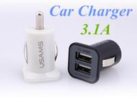 Wholesale Solar Galaxy S3 - USAMS USB 3.1A Dual USB Ports mini Car Charging Power Adapter portabl Universal for iPhone 6 5s HTC Samsung Galaxy S5 S4 S3 S6 FREE DHL