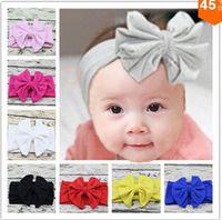 Wholesale Top Girl Hair - New 2015 Baby Girl Cotton Headwrap Floppy Big Bow Turban Headband for Newborn Hair Baby Top Knot Headband 10pcs lot