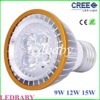 kapalı led spot ampuller toptan satış-Cree LED Ampuller PAR20 9 W 12 W 15 W led Spotlight E27 GU10 Beyaz Sıcak Beyaz Kapalı Aydınlatma 110 V-240 V