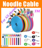 Wholesale Newest S4 Phone - Newest Micro USB Cable For all phones 3M Sync mini Data Noodle charging Charger cable for Samsung Galaxy S4 S3 N7100 Blackberry CAB004