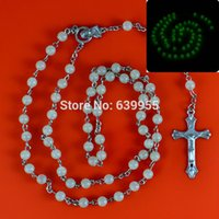 Wholesale Glow Crosses - Glow in dark Rosary Beads INRI JESUS Cross Crucifix Pendant Necklace Catholic Fashion Religious jewelry Wholesale