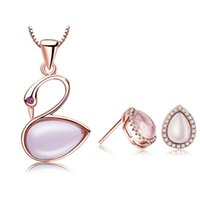 Wholesale 925 Swan Earring - Guarantee Natural Pink Ross Quartz Swan Sets 100% 925 Silver Jewelry Gemstone Love Set for Women Top Quality Free Shipping