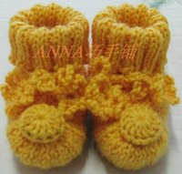 Wholesale Baby Shoes Thick Sole - Wholesale-Free shipping Handmade knitting knitted baby shoes soft sole shoes diy thermal toddler shoes newborn baby shoes thick yarn