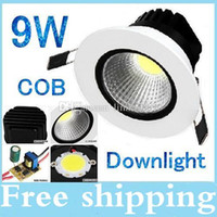 20 pcs / lot 9 W cob conduit downlight lihgt Downlight pour la maison Dimmable chaud / Cool blanc Led plafonnier 110 V 220-240 V