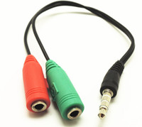 Wholesale Earphone Audio Splitter Cable - Best price 2015 New 3.5MM Earphone Jack 1 Male to 2 Female Earphone and Microphone Audio Splitter Connecter Adapter Cable 50pcs