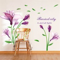 Wholesale Glass Tulip Flowers - Purple Tulips Flowers Wall Stickers For Living Room DIY 3D Wall Sticker Home Decor Wall Decals Mural Art 60*90cm Factory Wholesale