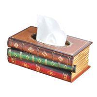 Wholesale box covered toilet tissue holders for sale - Group buy Vintage Rectangular Book Shape Case Elegance Advanced Convenient Tricolor Toilet Tissue Box Cover Holder for Home Decoration
