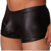 Wholesale Black Leather Boxers - New 1 Pcs Mens Male Faux Leather Sexy Silky Boxer Shorts Bulge Enhancing Mens Underwear High Quality S M L