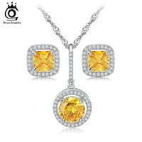 Luxo New Wedding Engagement Jewellry Set Amarelo Austrian Zircon Bridal Jewelry Necklace / Earrings Set Jewelry OS70