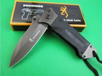 Wholesale Titanium Plate Camp - Browning DA35 Pocket Knife 8Cr14Mov 58HRC Plating Titanium Blade Green Line Lock Handle 1pcs sample freeshipping