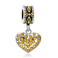 Atacado Enamel Heart Pendants 14K Gold Heart Charms 925 Sterling Silver Beads Cross Charm Fit Pandora Snake Chain Bracelet Jóias