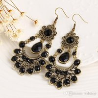 Vintage Big Black Gem Bohemian Long Flower Drop Earring Fashion Jewelry Jewelry Браслет с капюшоном для женщин