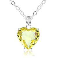 Wholesale Citrine Wholesale - 10 Pcs 1 lot Lucky Shine Jewelry Superb Fire Heart Citrine Crystal 925 Sterling Silver Russia American Australia Wedding Pendant Necklaces