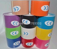 Wholesale Resistance Tape - 100pcs lot individual color box 5cmx5m water resistance Kinesio tape Therapy Muscle Tape #JK0991