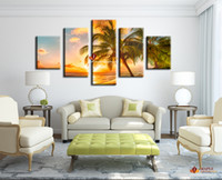 Wholesale Cheap Free Shipping Panel - Free shipping 5 Piece Modern Paintings On Canvas Sunset Seascape Inclued Coco Beach HD Picture Cheap Modern Canvas Art For Living Room
