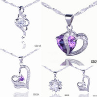 Wholesale Solid Silver Sterling Heart Necklace - Solid 925 Silver Love Pendant Amethyst Crystal Charm Fit Necklace Jewelry 5pcs Mixed Style Free Shipping