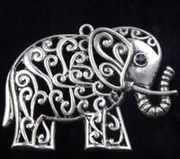 ingrosso gli occhi vuoti-Hollow Flower Elephant Con Strass Nero Occhi Charms 15 pz / lotto 65x48.5mm Nuovo Argento Tibetano Pendenti Gioielli FAI DA TE L1185