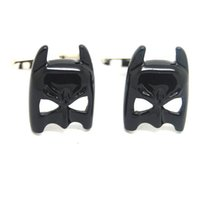 Wholesale High Quality Batman Mask - Explosion models cufflinks wholesale black Epoxy new Batman Mask cufflinks Fun for Men High Quality Alloy and Copper More Discount 550166