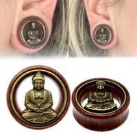 medidores de carne al por mayor-Moda 1 par de madera tapones para los oídos de Buda doble acanalado túnel de la carne calibradores para mujeres hombres Body Piercing Jewelry 8-20 mm