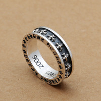 Wholesale women antique rings resale online - Brand new sterling silver fine jewelry vintage American Europe antique silver crosses hand made designer band rings gift for men women
