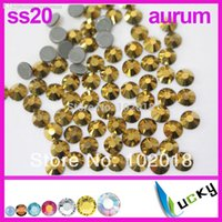 Wholesale Crystal Sew 5mm - Wholesale-1440pcs! Hot sale highest quality HOT FIX DMC rhinestones Copy swarov 2038 ss20 5mm Aurum Strass crystal Beads for Sewing