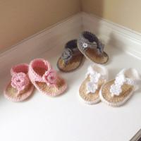 sandalias de ganchillo recién nacido al por mayor-2015 recién nacido bebé crochet sandalias, ganchillo zapatos de bebé crochet sandalias de niña 0-12 M personalizado