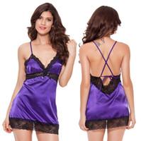 Wholesale Silk Lace Nightdress - Fashion Lingerie Sexy Satin Lace Babydoll Dress Women Silk Nightdress Nightgown Lady Sex Costume