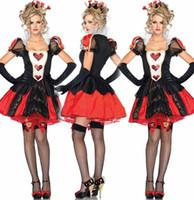 ingrosso fascia dei cuori della regina-Donna Sexy Deluxe Queen of Hearts Donna Costume Halloween Fancy Dress Alice nel paese delle meraviglie Fascia + vestito + guanto Costumi del partito vestiti