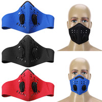 Wholesale cycling anti pollution mask resale online - Anti Pollution PM2 Filter Two Exhale Valves Bike Bicycle Half Face Mask Dustproof Activated Carbon Cycling Face Mask