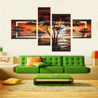 ingrosso immagini olio africano-100% dipinto a mano 4 pz / set giallo moderno paesaggio dipinti ad olio su tela wall art immagini africane per soggiorno home decor