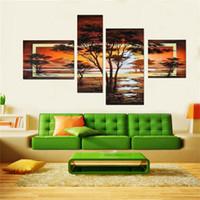 art mural salon africain achat en gros de-100% peint à la main 4 pcs / set jaune paysage moderne peintures à l'huile sur toile mur art africain images pour salon décor à la maison