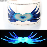 Popnow 90 * 25cm Heart Wing Car Car Audio Rhythm Attivato Equalizzatore Flash Light Led Sheet Sound Lampada decorativa interna # 3404