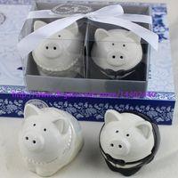 Wholesale Salted Groom - DHL Freeshipping 10sets Black and white color pig bride groom Salt Pepper Shakers wedding favor bridal shower gifts