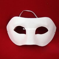 Wholesale Cheap White Masquerade Masks - Eco-friendly pulp white mask Halloween Masks Cardboard Blank White Masquerade Face Half Eye Cheap Horror Clown Mask