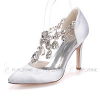 Wholesale Satin White Dress Sandals - Sparkly Rhinestones Pointed Toe Wedding Shoes High Stiletto Heels Bridal Evening Party Prom Bridesmaid Dress Shoes Black Purple Red Sandals