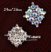 Wholesale Wholesale Bling Brooches - 5%off (100PCS LOT) Gold Handmade Vintage Clear Alloy AB Rhinestone Flatback Button Bling Metal Crystal For Bridal Brooch Embellishment