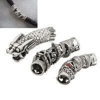 Wholesale hair cuff silver - 3Pcs Lot Tibetan Silver Dragon Hair Braid Bead Braiding Dread Dreadlock Tube Beads Ring Cilp Cuff For Braiding Hair Extension