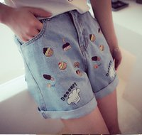 Wholesale Super Summer Cake - 2015 Summer New Super Adorable Sister Han Guodong Door, Wind Embroidery Cake Casual Jeans Shorts 0404 FG1511