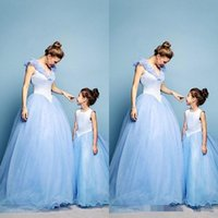 Wholesale Lovely Maternity Clothes - 2015 Mother and Daughter Dress Lovely Spring Tulle Family Clothing for Special Occasion Evening Dresses Baby Kids Light Sky Blue Crystal