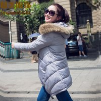 Wholesale Thick Silver Ribbon - 2015 autumn and winter new arrival down cotton-padded jacket female medium-long thickening large fur collar mantle type