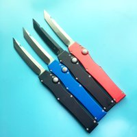 Wholesale Microtech Red - Microtech halo V all black single action red blue handle Hunting Pocket Knife Survival Knife Xmas gift for men 1pcs