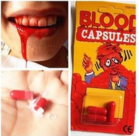Al por mayor-Fake Blood Pill Traje de Halloween píldora de terror Funny Halloween Gag Broma Party 10sets / lot