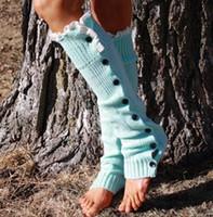 leggings de encaje al por mayor-Botón de encaje abajo Calentadores de piernas Baile de ballet Calentamiento botín de punto Calzas de bota Calcetines de media Cubiertas de botas Leggings Tight # 3653