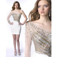 Abiti da sera a manica lunga Illusion 2016 Sparkly Gold Crystal Sequins Corpetto Bianco Royal Blue Prom Dresses Sleeves Red Homecoming Dresses