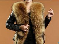 Wholesale Coats Racoon Fur Collar - wholesale 2015 fur coat Racoon collar false raccon collar patch pu leather slim coat belt black color s-xxxxl size