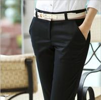 Wholesale Women Straight Elegant Black Pants - Office Ladies Career Pants capris Elegant Long Black Cotton Casual Women's Pants For Business Work Slim Trousers with belt Plus size S-XXXL